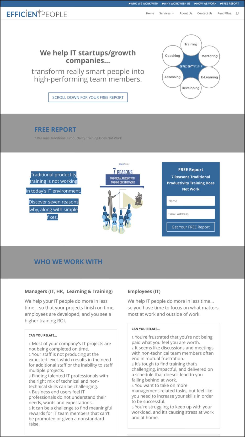 Life Coach Website Design Before