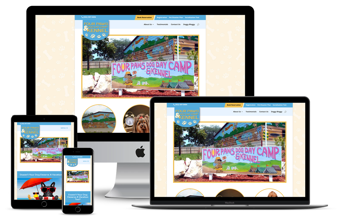 Four Paws Dog Day Camp and Kennel — Brooksville, FL Website Design