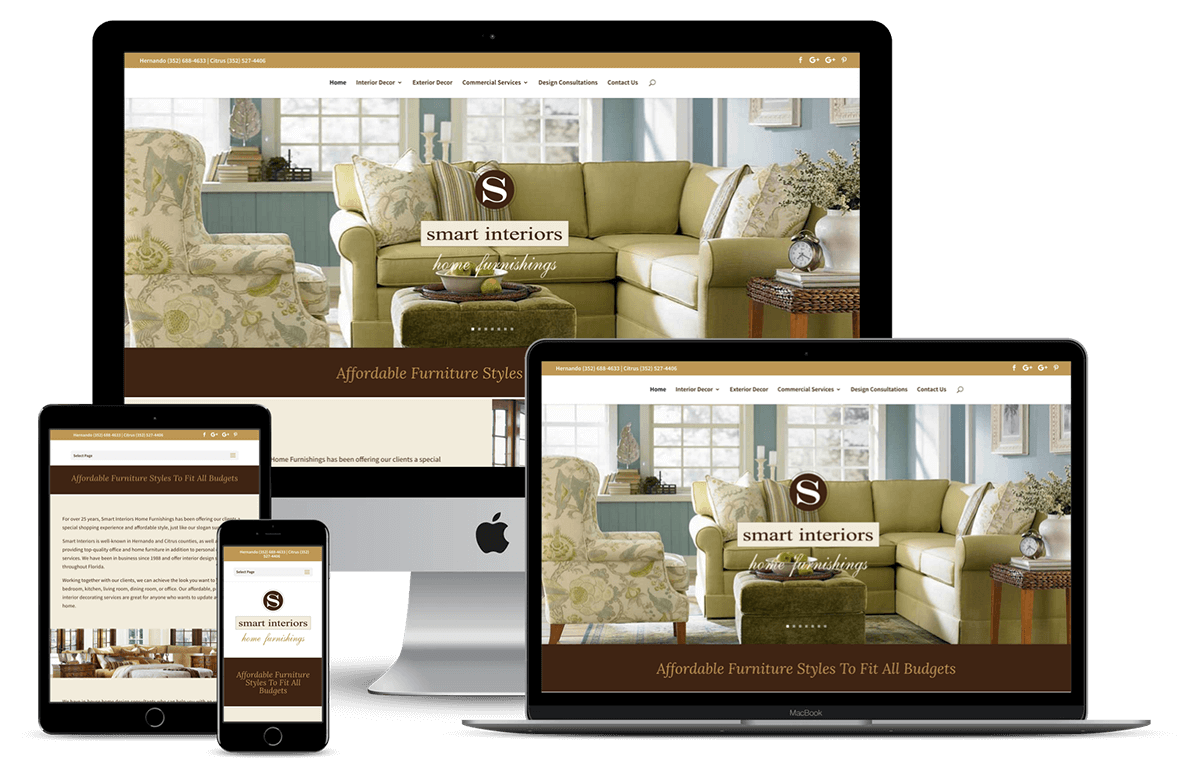 Smart Interiors - Website Design for Furniture, Household Products and Retail