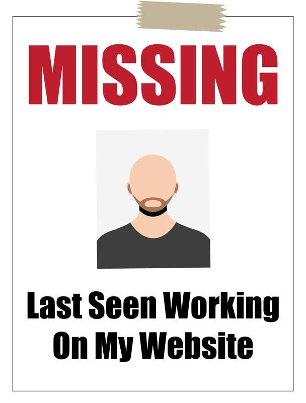 missing website designer poster