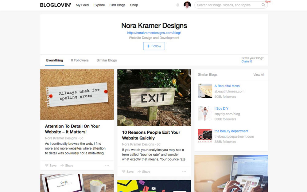 Nora Kramer Designs Is Now on Bloglovin!