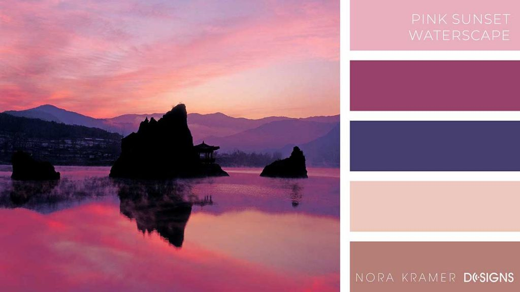 Pink Sunset Waterscape Color Palette